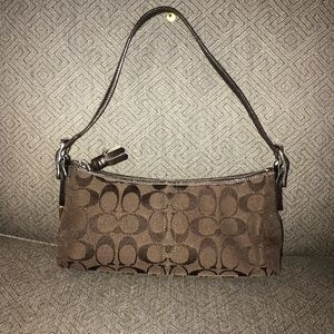 Coach Small Brown Canvas & Leather Purse